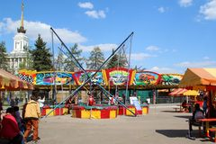 Entertaining attractions. Moscow. ENEA. Rides in the park Stock Images