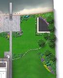 Entertaining backyard aerial view, rendering sketch. Yard landscape design illustration, bird`s eye view vector illustration