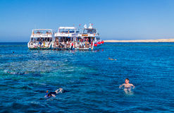 Entertaining boat trip. Diving in Egypt. Modern Egypt Royalty Free Stock Photography
