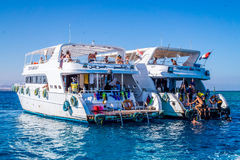 Entertaining boat trip. Diving in Egypt Royalty Free Stock Photo