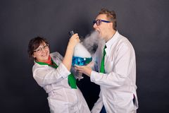 Entertaining chemistry and mad scientists 1549. Stock Photos