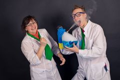 Entertaining chemistry and mad scientists 1552. Royalty Free Stock Photos