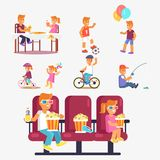 Entertaining Children in Cinema, Riding Bike etc Stock Photography