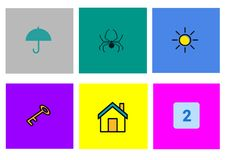 Entertaining children`s game. Six cards with different images for the development of children`s memory royalty free illustration