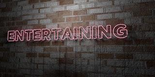 ENTERTAINING - Glowing Neon Sign on stonework wall - 3D rendered royalty free stock illustration Stock Photo