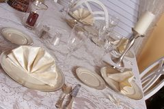 Entertaining at Home. A dinning room table set for company stock images