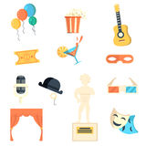 Entertaining icons flat set Royalty Free Stock Photo