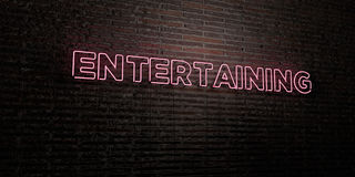 ENTERTAINING -Realistic Neon Sign on Brick Wall background - 3D rendered royalty free stock image Royalty Free Stock Images