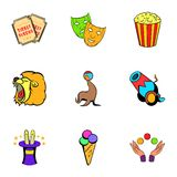 Entertaining show icons set, cartoon style Stock Image