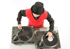 Entertainment. Above view of smart deejay spinning turntables Stock Photos