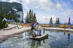Entertainment and adventure at Triassic Parc Beach on Steinplatte, Austria Royalty Free Stock Photos