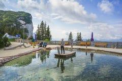 Entertainment and adventure at Triassic Parc Beach on Steinplatte, Austria Stock Image