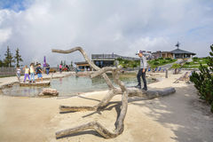 Entertainment and adventure at Triassic Parc Beach on Steinplatte, Austria Stock Photography