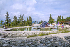 Entertainment and adventure at Triassic Parc Beach on Steinplatte, Austria Royalty Free Stock Image
