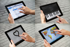 Entertainment on Apple Ipad2. Photo set of using Apple Ipad2 for entertainment, drawing, playing music, view maps Royalty Free Stock Images