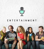 Entertainment Audio Multimedia Podcast Graphic Concept. Diverse People Entertainment Audio Multimedia Podcast Graphic stock image