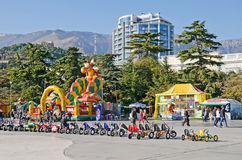 Entertainment for children on the waterfront in Yalta Stock Images