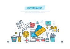 Entertainment, cinema and film, movie theater concept. Cinema icons. Entertainment, cinema and film, movie theater icons, tickets to cinema, media and film Royalty Free Stock Photos