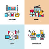 Entertainment, cinema, movie, video vector concept backgrounds. Online tv and multimedia illustration Royalty Free Stock Photo