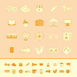 Entertainment color icons on orange background Royalty Free Stock Images