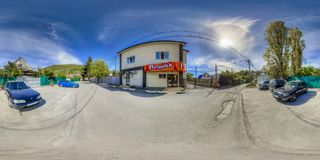 Entertainment complex in Sochi. Spherical Panorama Royalty Free Stock Photo