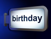 Entertainment, concept: Birthday on billboard background. Entertainment, concept: Birthday on advertising billboard background, 3D rendering Stock Image