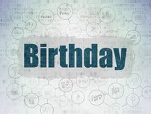 Entertainment, concept: Birthday on Digital Data Paper background. Entertainment, concept: Painted blue text Birthday on Digital Data Paper background with Stock Photo