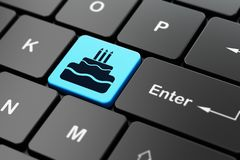 Entertainment, concept: Cake on computer keyboard background. Entertainment, concept: computer keyboard with Cake icon on enter button background, 3D rendering Royalty Free Stock Images