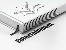 Entertainment, concept: book Fireworks, Entertainment on white background. Entertainment, concept: closed book with Black Fireworks icon and text Entertainment Royalty Free Stock Images