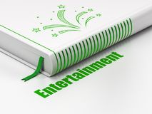 Entertainment, concept: book Fireworks, Entertainment on white background. Entertainment, concept: closed book with Green Fireworks icon and text Entertainment Stock Image
