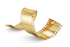 Entertainment concept. 3d render of golden film strip isolated on white background. Entertainment concept Stock Images