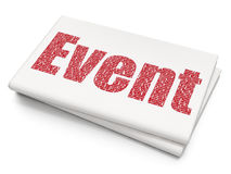 Entertainment, concept: Event on Blank Newspaper background. Entertainment, concept: Pixelated red text Event on Blank Newspaper background, 3D rendering Stock Image