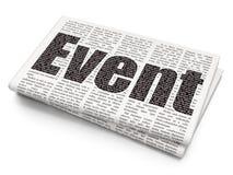 Entertainment, concept: Event on Newspaper background. Entertainment, concept: Pixelated black text Event on Newspaper background, 3D rendering Stock Image