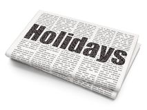 Entertainment, concept: Holidays on Newspaper background. Entertainment, concept: Pixelated black text Holidays on Newspaper background, 3D rendering Stock Images