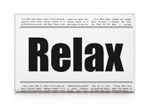 Entertainment, concept: newspaper headline Relax. On White background, 3D rendering Royalty Free Stock Photography