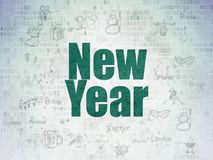 Entertainment, concept: New Year on Digital Data Paper background. Entertainment, concept: Painted green text New Year on Digital Data Paper background with Stock Image