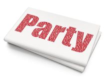 Entertainment, concept: Party on Blank Newspaper background. Entertainment, concept: Pixelated red text Party on Blank Newspaper background, 3D rendering Royalty Free Stock Photography
