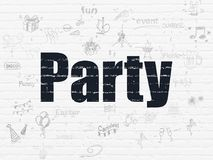 Entertainment, concept: Party on wall background. Entertainment, concept: Painted black text Party on White Brick wall background with Scheme Of Hand Drawn Royalty Free Stock Photo