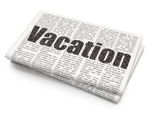 Entertainment, concept: Vacation on Newspaper background. Entertainment, concept: Pixelated black text Vacation on Newspaper background, 3D rendering Royalty Free Stock Image