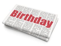 Entertainment, concept: Birthday on Newspaper background. Entertainment, concept: Pixelated red text Birthday on Newspaper background, 3D rendering Stock Images
