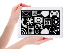 Entertainment concept - tablet pc with multimedia applications i Stock Photography