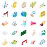 Entertainment for everyone icons set, isometric style Royalty Free Stock Image