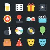 Entertainment Flat Icons Stock Image