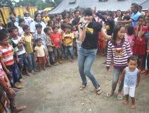 Entertainment fot mount merapi eruption Refugees Stock Image
