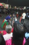 Entertainment fot mount merapi eruption Refugees Stock Photo
