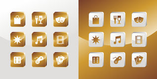 Entertainment gold icons set. Entertainment icons glossy set over light and dark background. Vector file available Royalty Free Stock Images