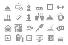 Entertainment gray  icons set. Set of 24 Entertainment gray  icons Stock Images