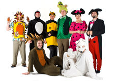 Entertainment Group. Different theatrical actors in costumes of different fantasy characters Stock Photos