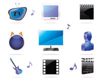 Entertainment Icon Set Stock Photography