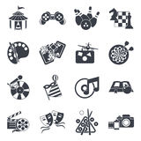 Entertainment Icon Set In Black. Entertainment isolated icon set in black on recreations themes music theatre cinema vector illustration Stock Images